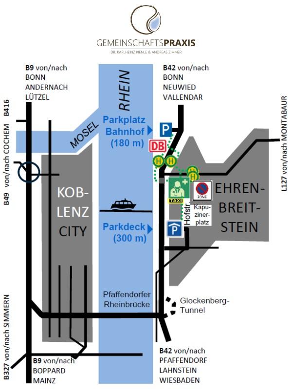 Anfahrtsskizze der GEMEINSCHAFTSPRAXIS DR.KIENLE & ZIMMER